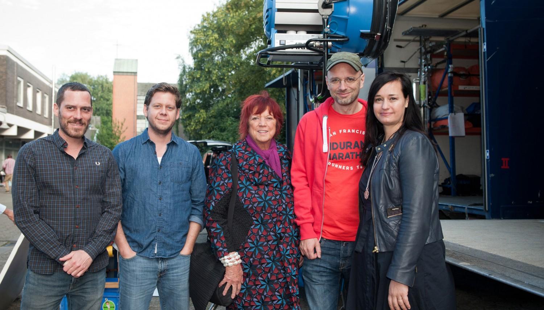 Von links nach rechts: Armin Franzen (Kamera), Matthias Adler (Producer), Regina Ziegler (Produzentin), Kilian Riedhof (Regisseur), Carolin Haasis (Redakteurin)
